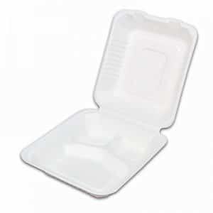 Caserola cu Capac 3 Compartimente Unica Folosinta, Biodegradabila & Compostabila 21 x 20 cm (200 buc)